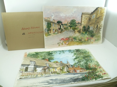 DAVID BIRTWHISTLE, (Late 20th century) Around Britain, English scenes, a collection of nine unframed watercolour paintings, signed, circa 1991, includes; Clifton Hampden, Downham, Birmingham, Castle Coombe, Rye, Durham, Bidford-on-Avon, Welford-on-Avon and Arlington Row, Bibury, 2 watercolours are large 39cm x 62cm and 7 smaller 30cm x 42cm