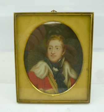 AFTER THOMAS PHILIPS R.A. Hugh III Duke of Northumberland, miniature portrait painting, bust length portrait in ducal ermine trimmed crimson robe, monogrammed SCM (possibly, Maund), brass framed with oval mount, see hand written label verso, 13cmx 10.5cm