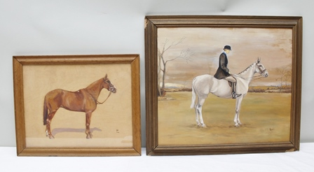 BEATRICE ELIOT LEAN Landscape study of grey hunter with elegant lady mounted, in black hunting coat, an Oil on panel, signed, 47.5cm x 55cm in chamfered oak frame, AND SIMILAR, a study of a chestnut hunter, 35cm x 45cm in glazed oak frame [Miss Lean (1914-2006) was a pupil of Frances Mabel Hollams (1877-1963)]