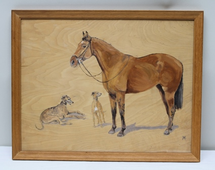 BEATRICE ELIOT HORNE (1914-2006) A bay horse with two greyhounds, Oil on panel, signed with monogram, 35cm x 45cm in glazed oak frame [Beatrice Eliot Horne (nee Lean) was one of only a few pupils of Frances Mabel Hollams (1877-1963)] Provenance; From the family of Beatrice Eliot Horne