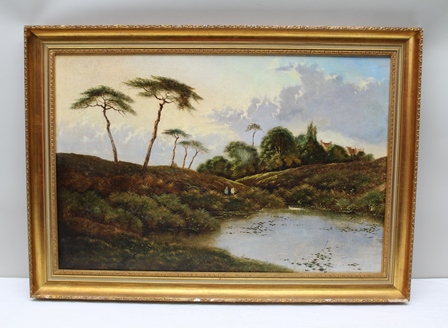 HENRY JOHN BODDINGTON A rural landscape with figures in the mid-ground, and cottages in the distance, an Oil on canvas, signed lower left, 59cm x 89cm in an ornate gilt frame
