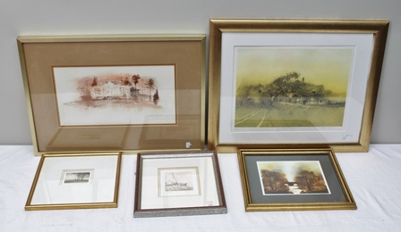 A COLLECTION OF ORIGINAL OILS & PRINTS; Peter LEstrange Stately Home Oil sketch on paper, signed and dated, 20 x 38cm H. Firkray Autumn River Landscape Oil, signed, 15 x 19cm 20th century European Small beached Sail Boat artists proof etching, signed in pencil, 9 x 8.5cm and After Martin Caulkin - limited edition print and etching of aquatint signed in pencil, all framed (5 total)