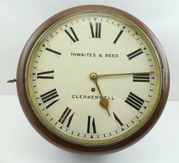 THWAITES & REED OF CLERKENWELL A MID 19TH CENTURY SINGLE FUSEE MAHOGANY WALL TIMEPIECE, numbered T & R 12084 (with this code it dates to 1852), having circular dial with Roman numerals, 11