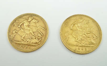 TWO HALF SOVEREIGNS, dated 1897 and 1905