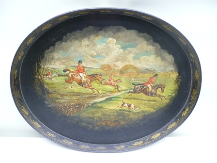 A CLAY PATENT OVAL GALLERY PAPIER MACHE TRAY, the sole hand-painted with a fox hunting scene, stamped to the back Clay Patent, 79cm x 59cm