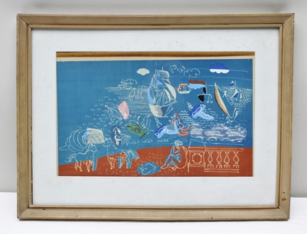 AFTER RAOUL DUFY La Mer, a limited edition colour Print no. 6/20, signed in pencil to the margin, bears The Redfern Gallery Limited - 20 Cork Street, London label verso, 26cm x 43cm mounted in a gilt glazed frame