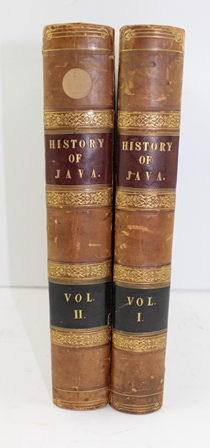 *** JEFFREY COLLECTION *** THOMAS STAMFORD RAFFLES THE HISTORY OF JAVA, in two half calf volumes, 1st edition with engraved map and plates, printed in London for Black, Parbury & Allen - Booksellers to the Hon. East-India Company, Leadenhall Street, and John Murray, Albemarle Street, 1817