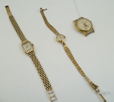 A BUCHERER GENTLEMANS WRIST WATCH, without strap, together with TWO 9CT GOLD LADYS EVENING WATCHES