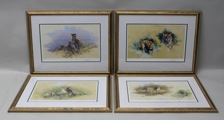 AFTER DAVID SHEPHERD Four big cat studies, tigers, leopards, cheetahs and lions, limited edition colour Prints (475), signed and numbered in pencil, published by Solomon & Whitehead, each 25cm x 38.75cm, each mounted in a gilt glazed frame (4)