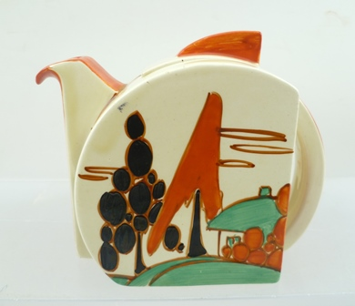 A CLARICE CLIFF BIZARRE FANTASQUE STAMFORD DESIGN POTTERY TEAPOT, hand painted in red trees and house pattern