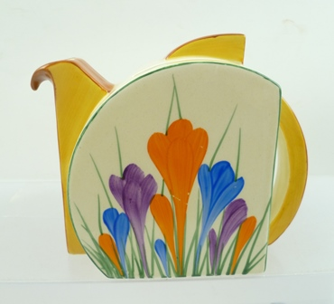 A CLARICE CLIFF BAZARRE TEAPOT, Stamford shape, hand painted in crocus pattern