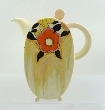 A CLARICE CLIFF BIZARRE COFFEE POT, Bonjour shape, hand-painted Lydiat pattern