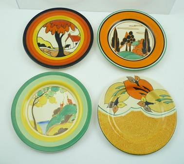 FOUR CLARICE CLIFF BIZARRE TEA PLATES, various hand-painted patterns to include, Secrets, 15cm diameter