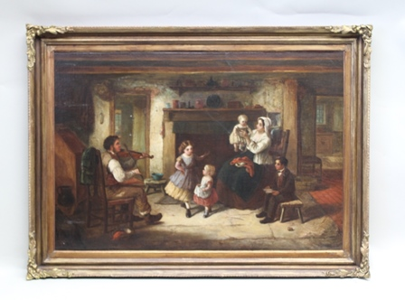 ALFRED PROVIS (fl:1843-1886) The Evening Recital, a cottage interior, family listening to the violin, Oil painting on canvas in ornate gilt frame, 60cm x 85cm