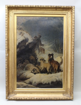 WILLIAM HETHERINGTON EMMERSON (1831-1895) Study of a shepherd and his dogs, finding sheep stranded in the snow, a Victorian Oil on board, believed to be from a larger work, related to the work known as Orphan of the Storm, signed, 113cm x 74cm, in period moulded gilded frame