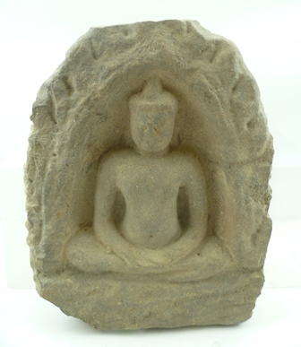 A CARVED STONE BLOCK 12TH CENTURY ANGKOR WAT, depicts a seated Buddha within a niche, block 28cm high (Provenance ex-collection of a Danish Diplomat seconded to the UN, in Cambodia in the 1960s/70s)