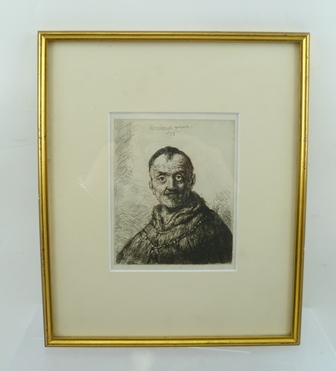 AFTER REMBRANDT HARMENSZ VAN RIJN The First Oriental Head, etching and drypoint, dated 1635, mounted in plain glazed gilt frame, 15cm x 12cm