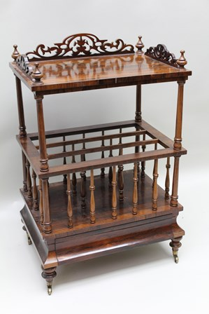 A 19TH CENTURY ROSEWOOD CANTERBURY, pierced gallery over base with turned spindles, fitted concealed drawer on turned feet with castors, 56cm wide