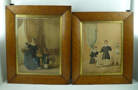 H LAIRD Members of the Campbell-Baldwin family of Stratford upon Avon, two watercolour paintings, one depicts a lady readying with two children, the other signed and dated 1839, see labels verse in maple frames, largest 42cm x 31cm