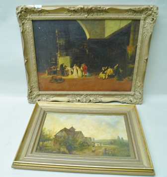 SPANISH SCHOOL The Spanish Marriage, Oil sketch on board, see labels verso, in ornate gilt frame, 44cm x 60cm, together with two other paintings, one estuary scene and a water mill (3)