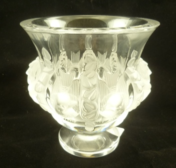 A LALIQUE DAMPIERRE CRYSTAL VASE, pattern no. 12230, clear and frosted with a band of birds to the body, on a platform base, signed in script Lalique France, 12cm high