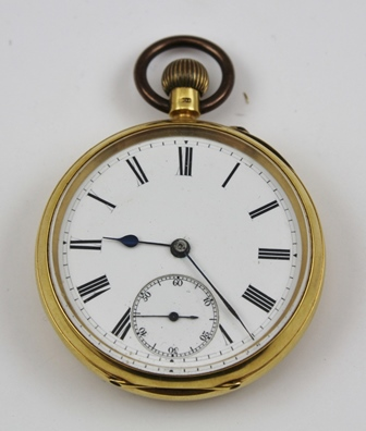 BUSSELL, LONDON A VICTORIAN 18CT GOLD GENTLEMANS POCKET WATCH, having three-quarter plate English mechanism part jewelled train and bi-metallic balance, faced by an enamelled Roman enumerated dial with subsidiary seconds, Chester 1899 (no key)