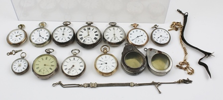 A SELECTION OF 19TH & EARLY 20TH CENTURY ROLLED GOLD GILT SILVER AND SILVER COLOURED METAL OPEN FACE POCKET WATCHES, a gentlemans rolled gold Waltham open face on plated Albert, four English silver open face, a silver Albert, a Swiss ladys Geneva and another gentlemans by Langendorf, and two chromed Primus watch cases