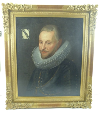 19TH CENTURY CONTINENTAL SCHOOL Portrait of a Gentleman, a bust length study of a gentleman in 17th century costume with ruff), an armorial to top left of painting, Oil on canvas, 60cm x 48cm, in ornate gilt frame