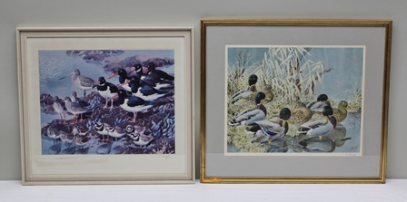 AFTER CHARLES FREDERICK TUNNICLIFFE At Low Tide, with waders on the foreshore, a limited edition colour Print, signed and numbered in  pencil, published 1967 The Tryon Gallery, London, 52.5cm x 57.5cm mounted in a linen slip in a cream and greyglazed frame, and SIMILAR Mallards, published 1976 The Tryon Gallery, London, 57.5cm x 65cm mounted in gilt glazed frame (2)