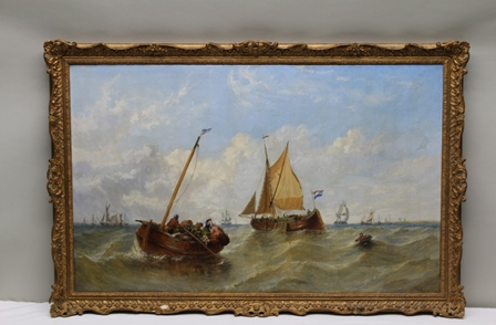 WILLIAM ADOLPHUS KNELL (1802-1875) Rowing Out the Supplies, a maritime scene with sailing ships, row boat in foreground, an Oil on canvas, signed W.A. Knell (bottom right), 76cm x 122cm in an ornate gilt frame