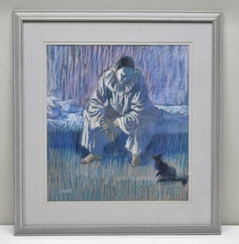 ARTHUR KEENE, Father of Tobias Keene, Pierrot and his cat, Pastel drawing, signed, see gallery label verso, 52cm x 47cm mounted in a painted glazed frame