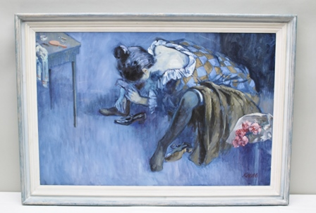 ARTHUR KEENE, Father of Tobias Keene, Tribute, a study of a dancer, flowers at her side, Oil on canvas, signed, inscribed verso, 59cm x 91cm in painted frame