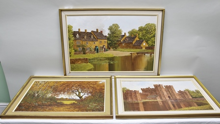 N. BRADLEY-CARTER Three 20th century Paintings, to include an Oil on board entitled On the edge of the Ashdown Forest, together with two other Oils on canvas from the heart of England, 60cm x 90cm largest, each signed, in hessian mount and slender gilt frames (3)