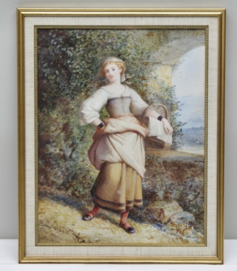 EDWARD HENRY CORBOULD Going to the Market her eggs for to sell, a Watercolour, signed and dated 1898, see label verso - Royal Institute of Painters in Watercolour, 43cm x 35cm mounted in a gilt glazed frame
