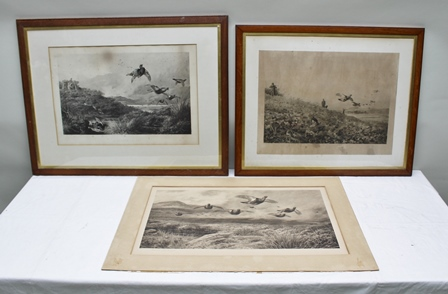 AFTER ARCHIBALD THORBURN (1860-1935) Three monochrome Prints of game birds and the shoot, one entitled A Grouse Drive, two signed in pencil, two in glazed frames, one loose mounted 40cm x 70cm image size