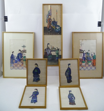 A COLLECTION OF LATE 19TH CENTURY CHINESE PAINTINGS on pith paper, depicting courtly figures, comprising; 4 small, a double and 2 larger paintings