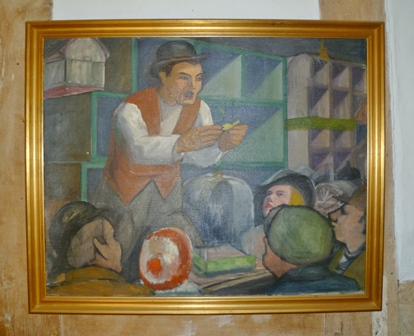 CONTINENTAL SCHOOL The Caged Bird Seller Oil painting on canvas, 64cm x 80cm, in gilt frame