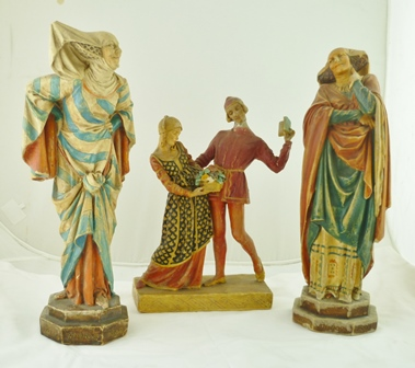 A WAX PAINTED PLASTER FIGURE by Agatha Walker (1888-1980) Edith Evans as Mistress Page from The Merry Wives of Windsor, polychrome painted, together with TWO OTHER WAX PAINTED PLASTER FIGURE GROUPS