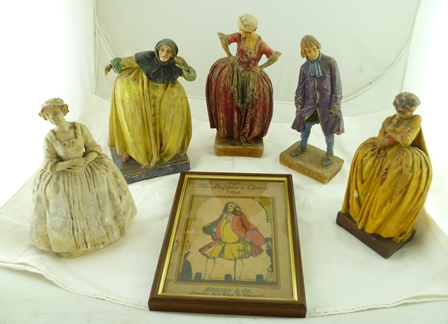 FIVE WAX PAINTED PLASTER FIGURES, by Agatha Walker (1888-1980), including the  character Filch from The Beggars Opera dated 1921 and other characters un-named together with A FRAMED PRINT Gays The Beggars Opera, 1728, Boosey & Co., London, New York and Toronto