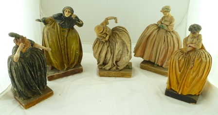 A COLLECTION OF FIVE WAX PAINTED PLASTER FIGURES, by Agatha Walker (1888-1980), connected to The Beggars Opera including characters named to the bases Jenny Diver, Polly Peachum Mrs Diana Crapers another with the title All Men are Thieves in Love and one other Lucy Lockett, from the 1920 production of the Beggars Opera (5)