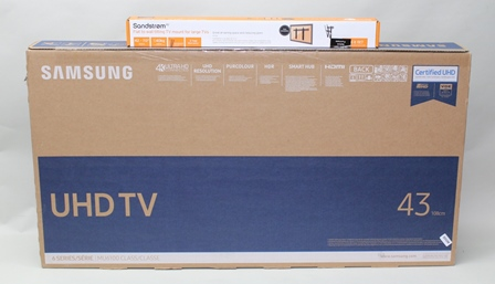 A BRAND NEW BOXED SAMSUNG 43 ULTRA HIGH DEFINITION TELEVISION with smart hub, together with a BRAND NEW BOXED WALL MOUNTING BRACKET by Sandstrom