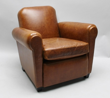 A BROWN DISTRESSED LEATHER EFFECT SET OF THREE CLUB STYLE ARMCHAIRS on show-wood blocked feet
