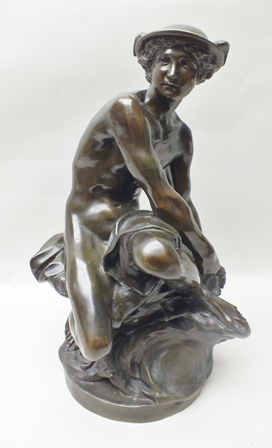A BELIEVED LATE 19TH CENTURY BRONZE RE-CAST OF A SEATED MERCURY after the original by Pigalle of 1749, 60cm high