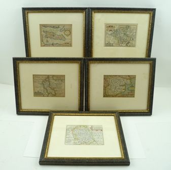 PIETER VAN DEN KEERE (1571-1646) A collection of five 17th century engraved Maps of the United Kingdom (known as Miniature Speeds), later hand coloured, includes Worcestershire, Shropshire, Essex, Buckinghamshire and the Isle of Man, each 8.5cm x12cm mounted in ebonised glazed frame (5)