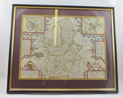 JOHN SPEEDE STAFFORD COUNTIE AND TOWNE, an engraved Map, later hand coloured, with plans of Stafford and Lichfield, 38cm x 50cm in an ebonised and gilt frame, glazed verso to reveal text