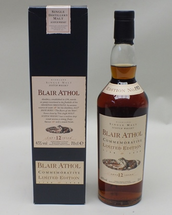 BLAIR ATHOL Bicentenary - 12 year old Highland Malt Scotch Whisky, Commemorative Limited Edition (1798-1998) Edition No.193, 43% vol., 1 x 70cl bottle in presentation carton