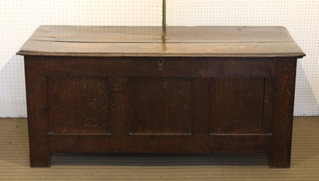 A 19TH CENTURY OAK COFFER with triple panel front, raised on stile supports, 150cm high x 68cm high