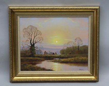 PETER COSSLETT  A last quarter 20th century Oil on canvas, Sunset over a Village Church, with stream in foreground, signed, with hessian filet and gilt frame, 39cm x 49cm (sold with original bill of sale)