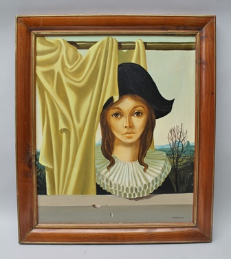 CLEMENT A third quarter 20th century surrealist stylised female portrait study, wearing a Napoleon hat and large ruff collar, with expansive landscape behind, in part gilt wood frame, signed and dated 60, 54 x 45cm
