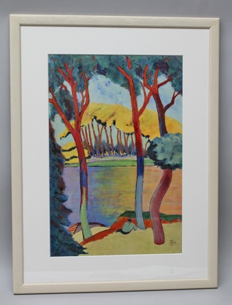 P** M** A 20th century polychrome fauvist study of a man resting by a river with wooded banks, possibly an oil on paper, initialled, in plain mount and whitewashed frame, 44 x 29cm